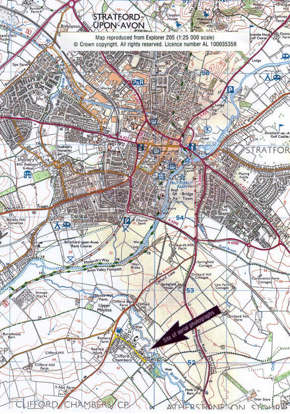 Map of Stratford-upon-Avon and Clifford Chambers